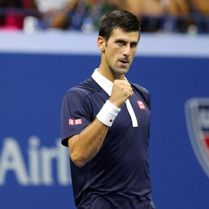 Sep 8, 2015; New York, NY, USA; Novak Djokovic of Serbia celebrates after defeating Feliciano Lopez of Spain on day nine of the 2015 U.S. Open tennis tournament at USTA Billie Jean King National Tennis Center. Mandatory Credit: Jerry Lai-USA TODAY Sports
