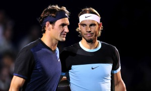 BASEL, SWITZERLAND - NOVEMBER 01: Roger Federer of Switzerland and Rafael Nadal of Spain pose prior the final match of the Swiss Indoors ATP 500 tennis tournament at St Jakobshalle on November 1, 2015 in Basel, Switzerland (Photo by Harold Cunningham/Getty Images) ORG XMIT: 587608347 ORIG FILE ID: 495232624